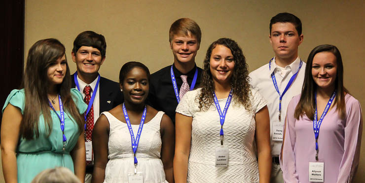 The 2014 Byrnes Scholars are, pictured left to right: Lauren Danielle Owens, Johnsonville; Joseph Daniel Kovas, Chester; Ni'Asia Angelese Daniels, Spartanburg; John Andrew Redding, Union; Amber Evett Candice Locklear, Lake View; Terry Glenn Sweat II, Columbia; Allyson English Walters, Florence; (not pictured) Martie Marie Hiott, Mount Pleasant.