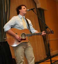 "Brent McDonald, 1998 scholar, performs his original composition ""Lost, Helplessly"" at the 2009 Byrnes luncheon."